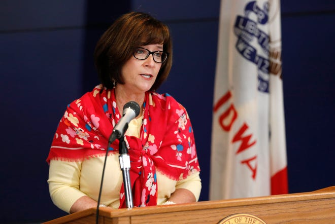 Iowa Workforce Development Director Beth Townsend provides an update on the state's response to the coronavirus outbreak during a news conference at the State Emergency Operations Center, Thursday, April 9, 2020, in Johnston. (AP Photo/Charlie Neibergall, pool)