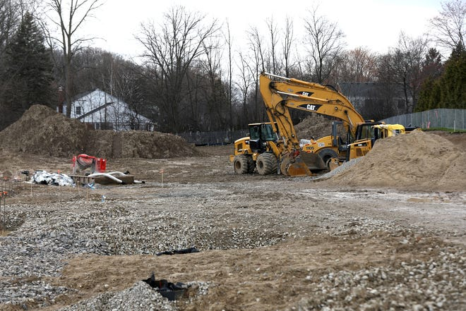 Orchard Lake Middle School in West Bloomfield, Michigan on April 9, 2020. A new school is being built on the site of the current school but all construction stopped when COVID-19 hit the region.