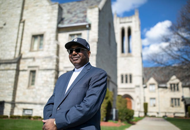 Rev. Charles Adams Jr. poses for a portrait Wednesday, April, 8, 2020. He will have to make changes to reach out to his Hartford Memorial Baptist Church Detroit congregation for Easter Sunday and other Sundays due to the stay at home mandate because of the Coronavirus outbreak.