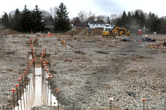 Orchard Lake Middle School on Thursday in West Bloomfield, where a new school was being built on the site of the current school but all construction stopped when Coronavirus COVID-19 hit the region.