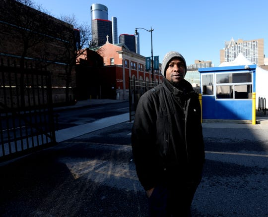 Deonta Talley, 36 of Detroit, was one of many people that were able to take a shower in the mobile shower unit at the Pope Francis Center in Detroit, Michigan, on April 9, 2020. Talley said it had been one to two months since he last took one.