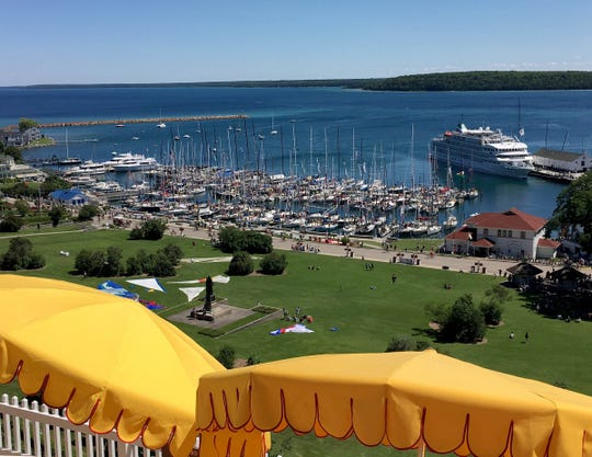 The view of the harbor from Fort Mackinac on Mackinac Island in July 2017.