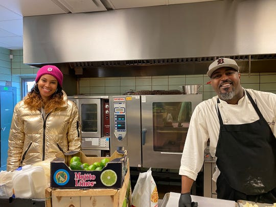 Stephanie Byrd, owner of The Block, Flood's Bar & Grille, with chef Maxcel Hardy at the Horatio Williams Foundation kitchen.
