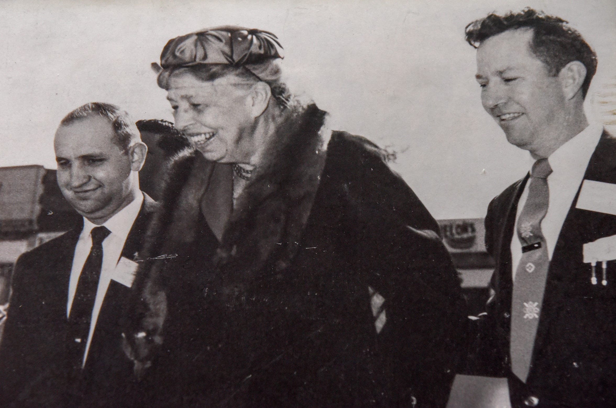 Eleanor Roosevelt visits Local 1299 in River Rouge in 1959. She rededicated the building, named for her late husband Franklin D. Roosevelt when it opened in 1946.