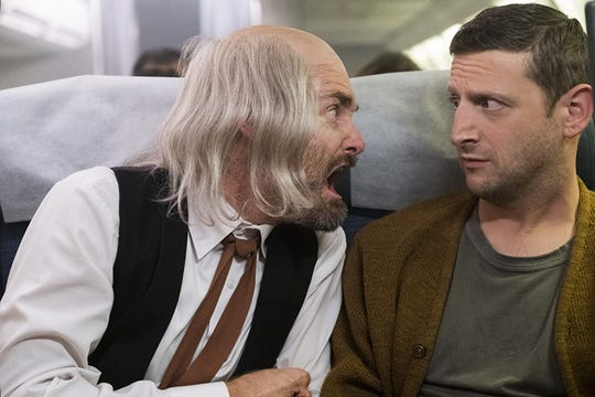 "Will Forte and Tim Robinson in the airline passenger sketch in ""I Think You Should Leave."""