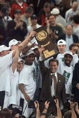 Michigan State celebrates its NCAA championship in 2000.