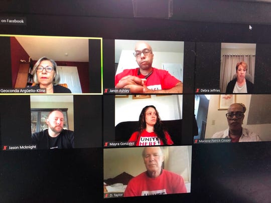 This April 9, 2020 photo from Atlantic City NJ shows casino workers and union officials from Las Vegas, Atlantic City, New Orleans and Mississippi participating in a video conference at which they called on the casino industry to pay them through the duration of the coronavirus shutdown.