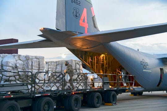 Airmen from the 146th Airlift Wing of the California Air National Guard in Oxnard, Calif., deliver 200 ventilators to the New York Air National Guard's 105th Airlift wing April 7 at Stewart Air National Guard Base, adjacent to Newburgh, N.Y.