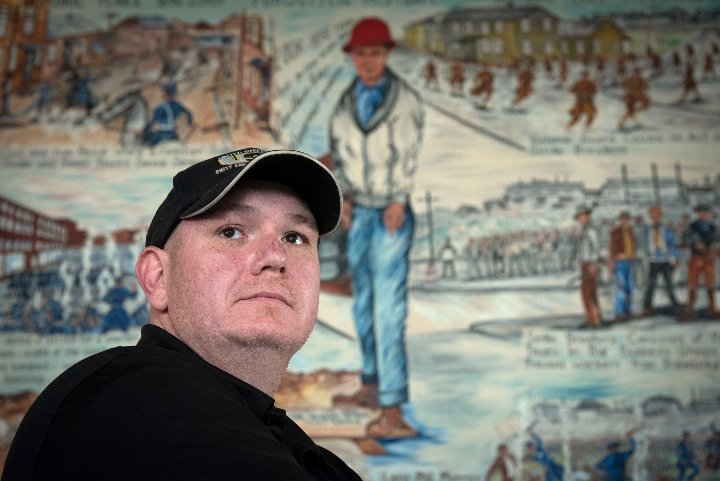 Bob Kemper, grievance chairman of United Steelworkers Local 1299, poses for a photo at the local in River Rouge, Thursday, April 9, 2020. Mr. Kemper is a 24-year Great Lakes Works employee.