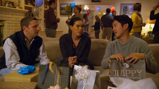 "Tim Robinson, Brianna Baker and Steven Yeun in the Gift Receipt sketch in ""I Think You Should Leave."""