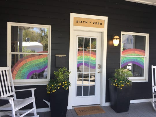 Rainbows were painted in the windows at Sixth + Zero in Downtown Newburgh.