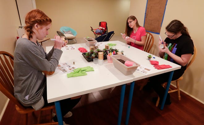 Amelia Euclide of Sun Prarie, Annabelle Seel of Fond du Lac and Olivia O'Connor of West Bend pot and decorate plants at a Curvy Girls gathering at Annabelle's house. The group gets together once a month to talk about their experiences with scoliosis and to do fun activities.