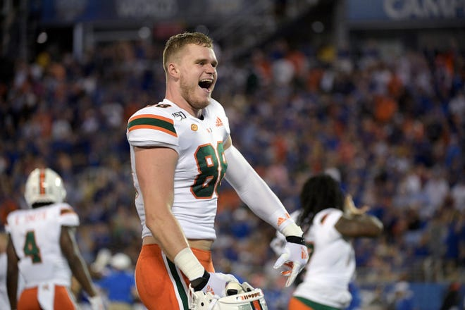 Former Miami tight end Brian Polendey tweeted that he'll transfer to Colorado State.