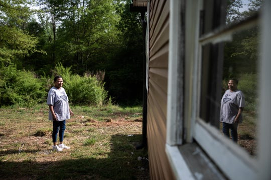 Cynthia Gaines, a janitorial contractor with Her Services at her home in Seneca, Wednesday, April 8, 2020. Gaines worked at Clemson University until she Wass furloughed on March 17 as a result of the coronavirus outbreak.