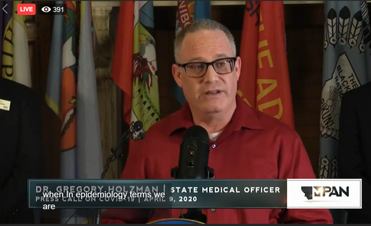 Dr. Greg Holzman, the state's medical officer, discusses COVID-19 on Thursday.