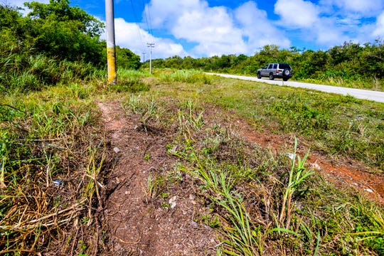 Twin trails of matted grass on the roadside of Route 15 offer an indication of the path taken by a vehicle involved in a fatal auto-pole collision on Route 15, near the former Andersen South military housing, that claimed the life of the male driver during the early morning hours of Thursday, April 9, 2020.