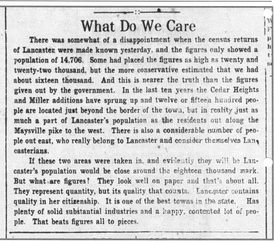 An article on the census that appeared in the Daily Eagle in April 1920.
