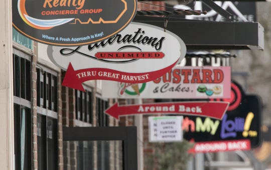 Businesses in downtown Brighton are largely dormant Thursday, April 9, 2020. The City of Brighton and Lake Trust Credit Union have announced a crowdfunding initiative to help struggling businesses during the pandemic.