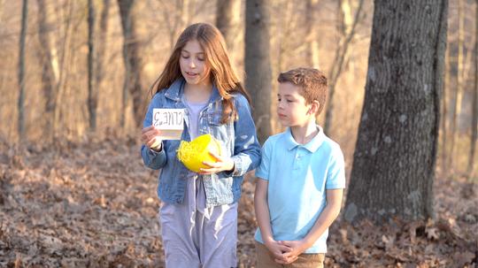 Ella Giesow, 9, and Eli Giesow, 6, take viewers on a virtual Easter Egg hunt.