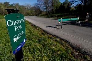 The Cherokee Park loop is blocked to motor vehicles.April 9, 2020