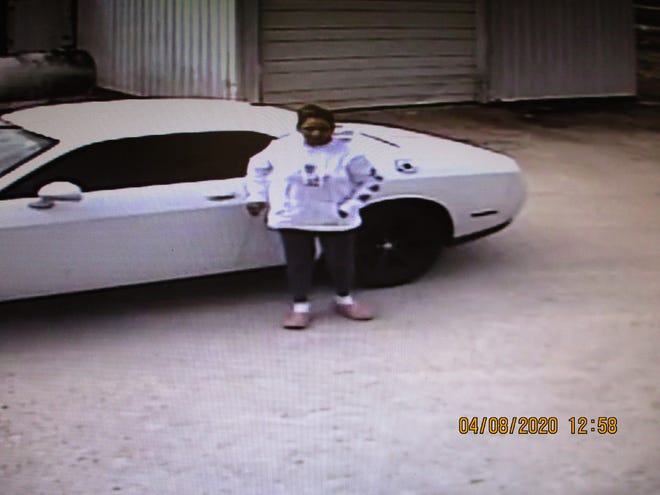 Image of a vehicle and person of interest sought in a theft at a dairy farm in Manitowoc County.