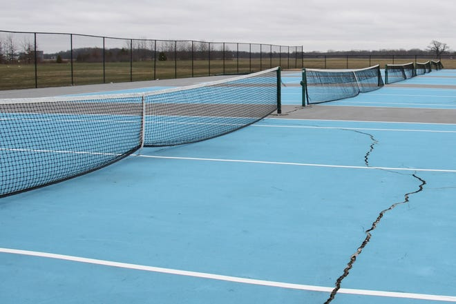 The tennis courts at River Valley are vacant as high school sports remain at a standstill through the end of April in Ohio.