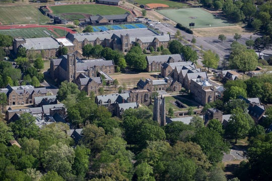 Aerial view of Rhodes College on Thursday, April 9, 2020, in Memphis.