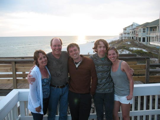The Fostner family, seen here on vacation at Seagrove Beach in Florida in 2013, is mourning the loss of their son and brother, Donny (middle). Donny was with his mom, Jenny, dad, Rod, brother, Jake, and sister, Megan.