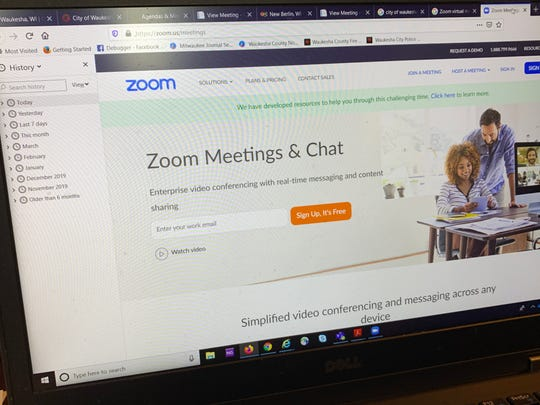 Zoom, a popular app used to conduct meetings virtually, is now being used by several Waukesha County communities, including the cities of Waukesha and New Berlin, to conduct government meetings during the new coronavirus pandemic. Mukwonago also began using Zoom software for village meetings on April 1.