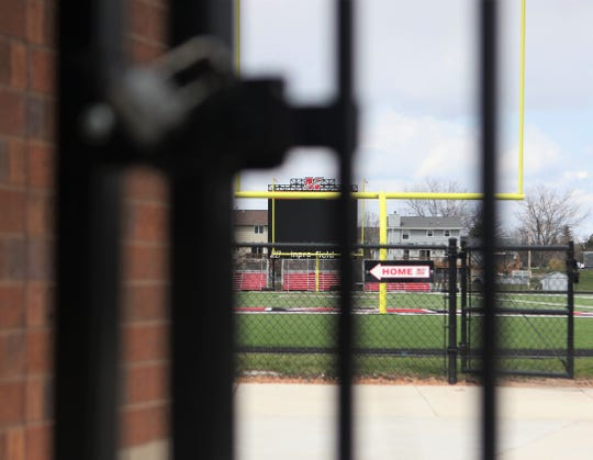 The football field and track at Muskego is closed as high school spring sports are on hold amid the coronavirus pandemic.