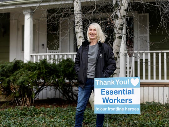 Sue Roska of  Glendale designed a yard sign to thank essential workers. She offered the signs to neighbors.