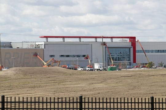 Work continues at Foxconn Technology Group's manufacturing complex in Mount Pleasant on Thursday, April 9, 2020.