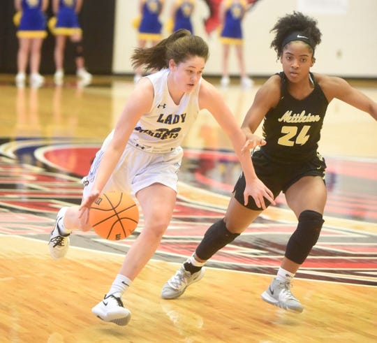 Mountain Home's Kate Gilbert drives during a Class 5A State semifinal game against Nettleton last month at Russellville.