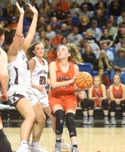 Viola's Sami McCandlis looks to shoot over Kirby's McKenzie Jones during the Class 1A State championship game last month at Hot Springs.