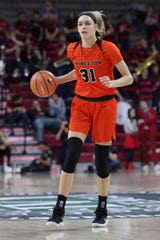 Princeton's Bella Alarie in action during the second half of an NCAA college basketball championship game in the Ivy League Tournament against Pennsylvania, Sunday, March 11, 2018, in Philadelphia. Princeton won 63-34. (AP Photo/Chris Szagola)