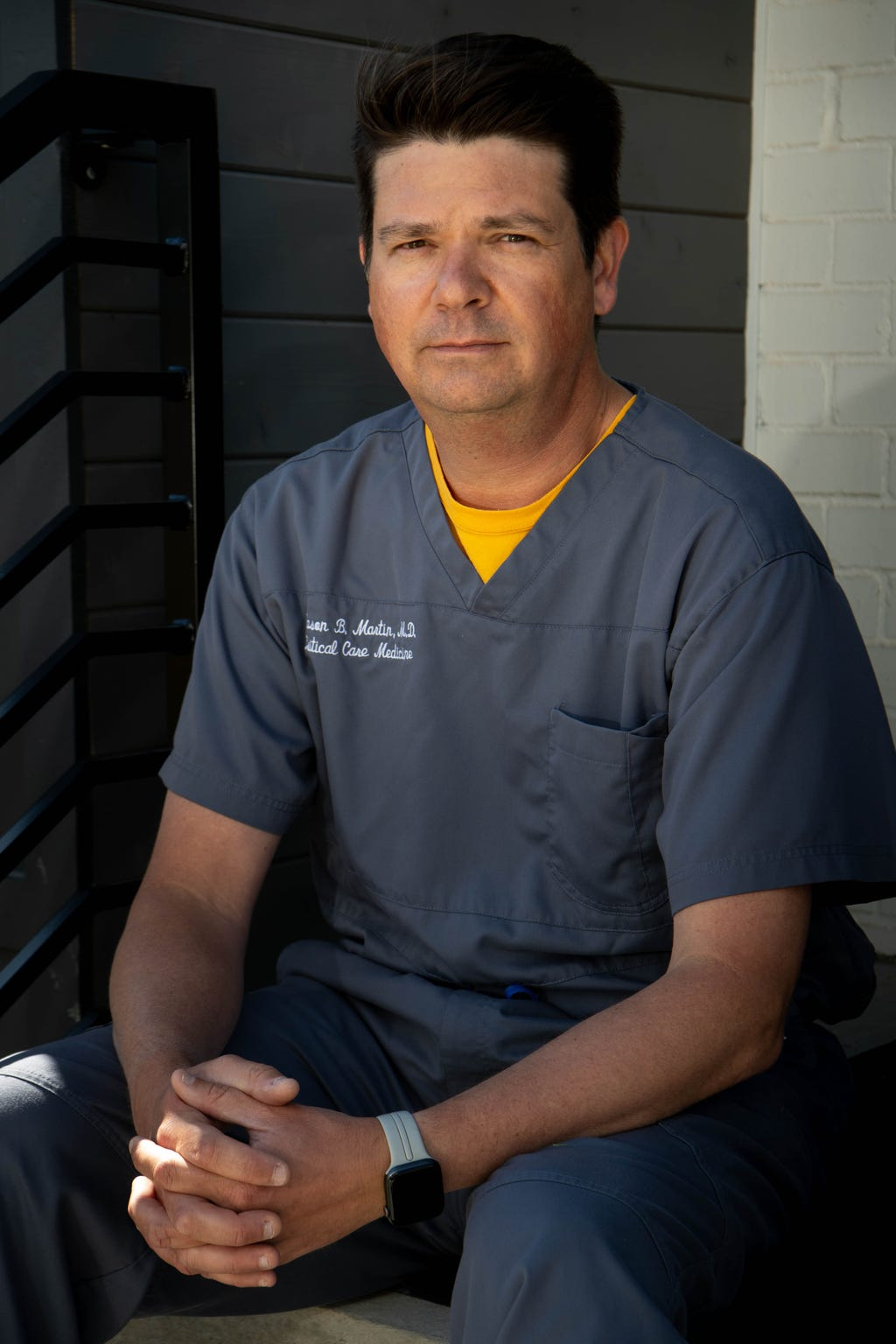 Dr. Jason Martin of Sumner Regional Medical Center poses for a portrait at his home Thursday, April 9, 2020, in Nashville, Tenn.