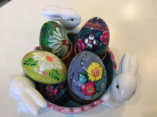 These hand painted wooden Easter eggs are from trips to Poland, Warsaw, Krakow, Wroclaw and Bialystok, Poland. These eggs were done by local artists; I have no names. -- Jeanne Wisniewski, Naples