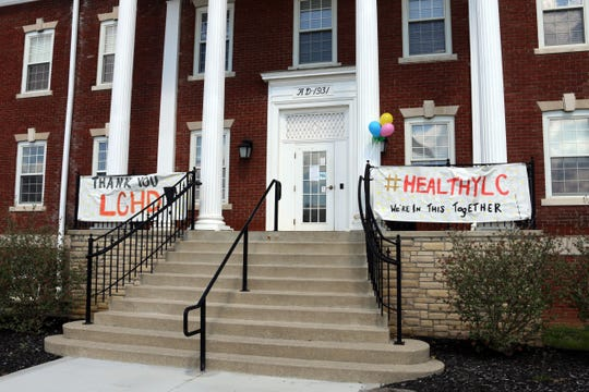 Community members posted banners thanking Licking County Health Department employees for their efforts during the coronavirus pandemic on Thursday, April 9, 2020.