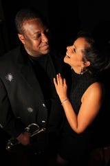 "Jazz trumpeter Wallace Roney, left, who passed away on March 31 at the end of 59 is seen with his fiancee Dawn Felice Jones in a photo for his 2010 album, ""If Only for One Night."""