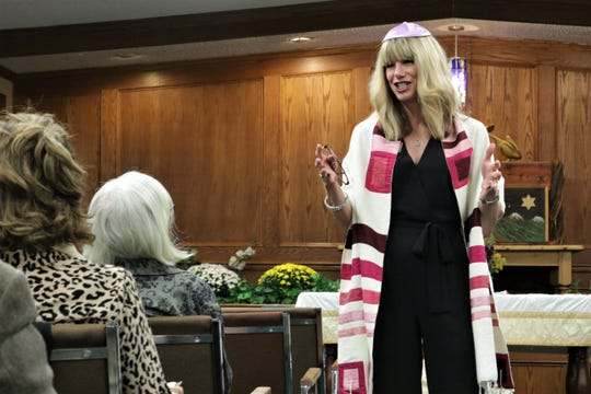 Spiritual leader Lisa Smith concludes evening Rosh Hashanah services at Congregation Har Shalom in Durango in the fall of 2019.