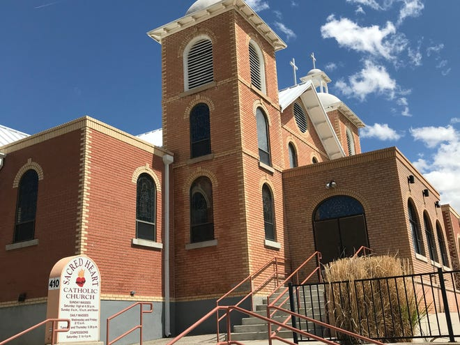 The exterior of Sacred Heart Catholic Church in Farmington on April 9, 2020.
