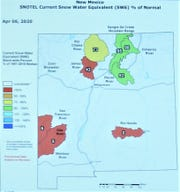 The NRCS map shows the snow-water equivalent in remaining snowpacks of New Mexico's mountains. The equivalent represents the depth of water produced if the snowpack melted instantaneously.