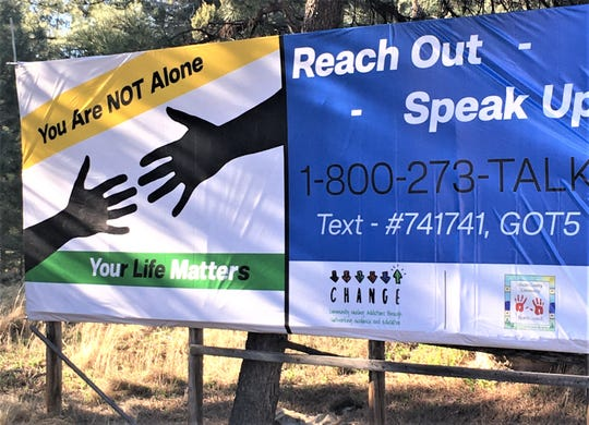 Knowing that Lincoln County already a hot spots for youth suicide,  members of the Lincoln County Community Health Council used grant money to put up a billboard on Mechem Drive in Ruidoso with contact numbers.