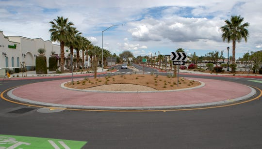 La Quinta Village Complete Street project roundabout at Calle Tampico near Desert Club Drive is complete in La Quinta, Calif., on April 9, 2020.