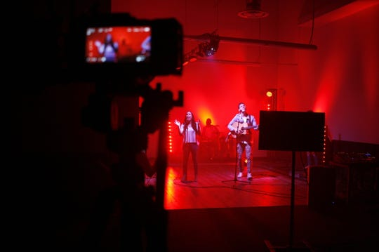 C3 Palm Springs' creative team record their Sunday worship service for online broadcast.