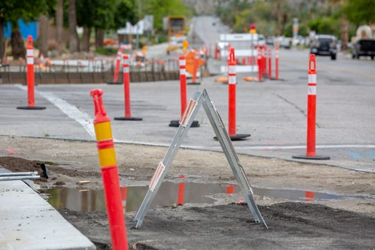 """La Quinta Village """"complete streets"""" project at the Avenida Bermudas and Avenue 52 intersection is not yet complete in La Quinta, Calif., on April 9, 2020. The intersection will be closed for about a month while construction crews rebuild it after discovering the pavement is deteriorating."""