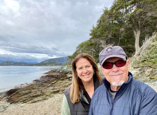"""On March 9, Frank and Buena Brown were at the """"End of the World,"""" in  Ushuaia, Argentina, in the Tierra del Fuego archipelago."""