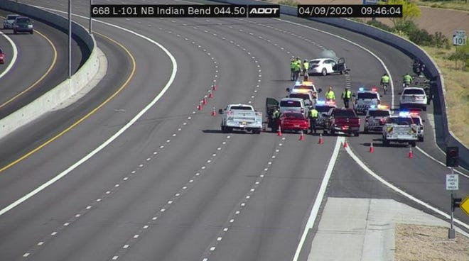 A crash temporarily closed the northbound lanes on Loop 101 at Indian Bend Road on Thursday, April 9, 2020.