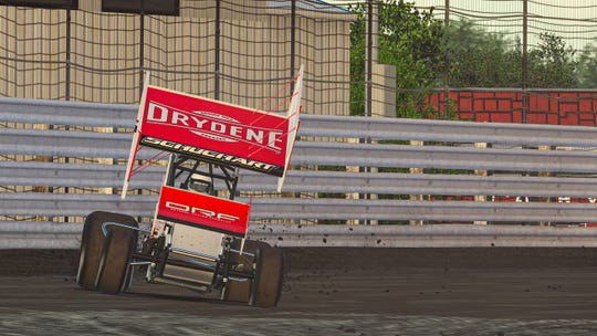 World of Outlaws Sprint Car driver and Hanover native Logan Schuchart races during the iRacing Invitational at the virtual Knoxville Speedway on Wednesday.