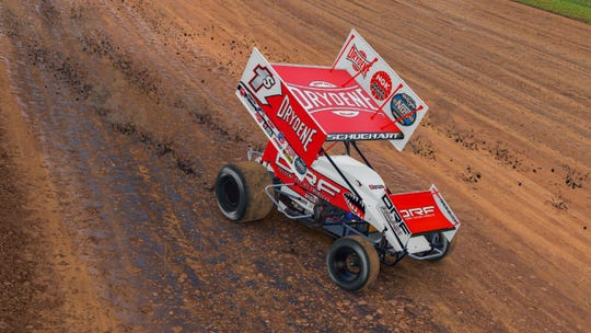 World of Outlaws sprint car driver and Hanover native Logan Schuchart races during the iRacing Invitational at the virtual Knoxville Speedway on Wednesday. Schuchart finished fifth in the event.
